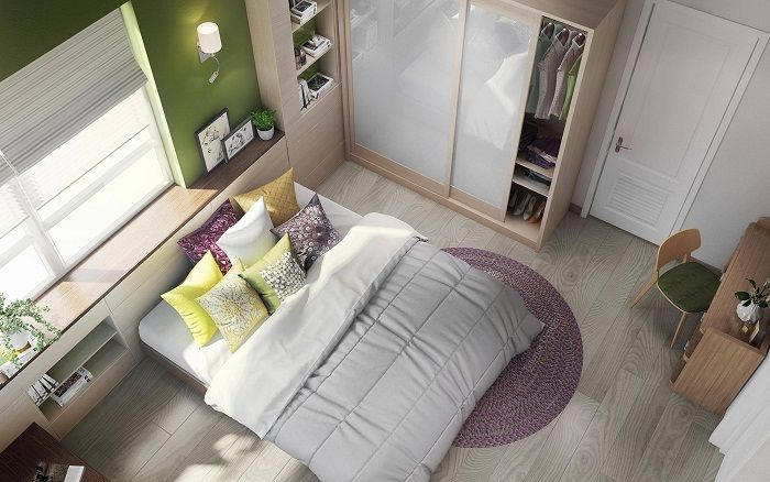 Cute and comfortable interior bedroom that looks very neat.