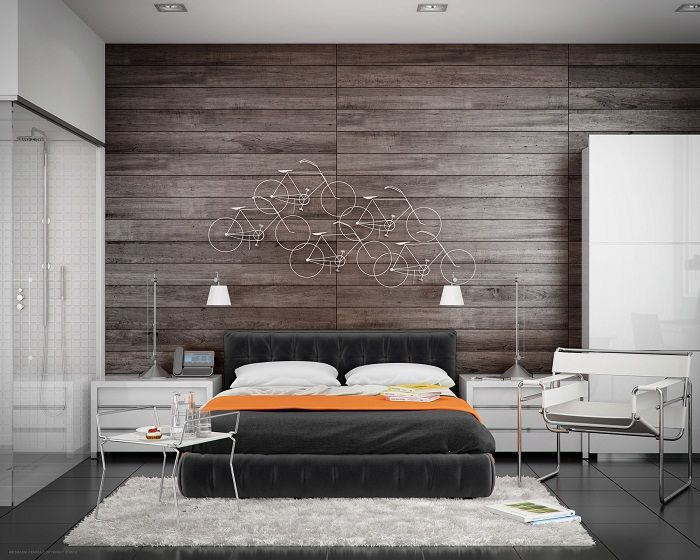 Cool solution for the transformation of the interior bedroom in dark colors that will impress.