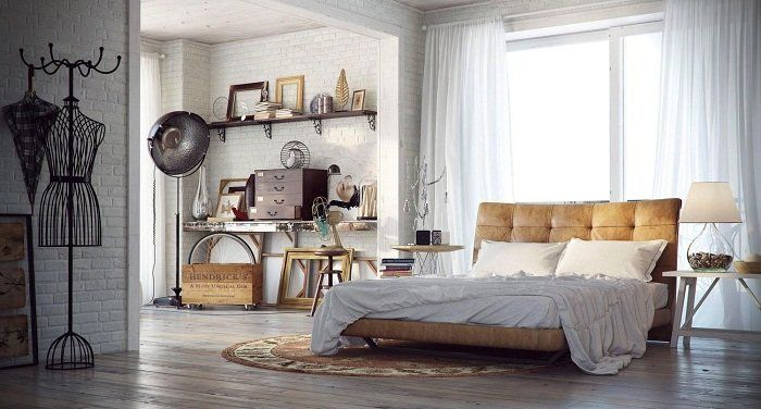 The bedroom is decorated in modern trends of masonry that decorate the interior definitely.