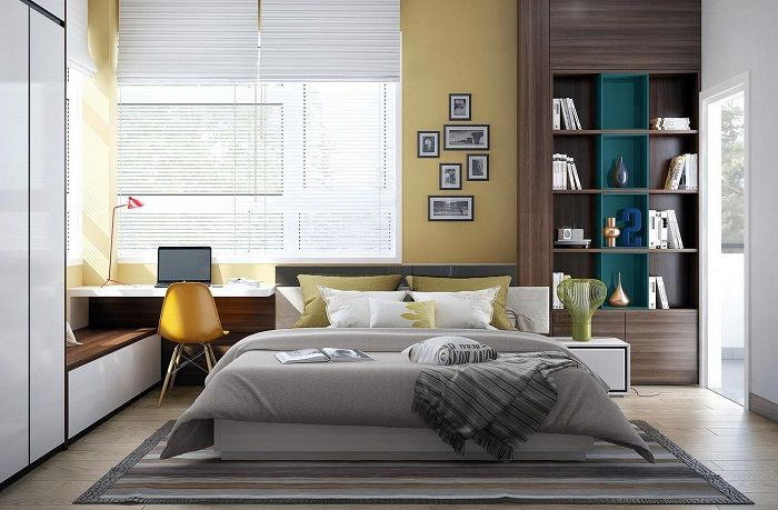 Excellent choice to design the interior bedroom using mustard.