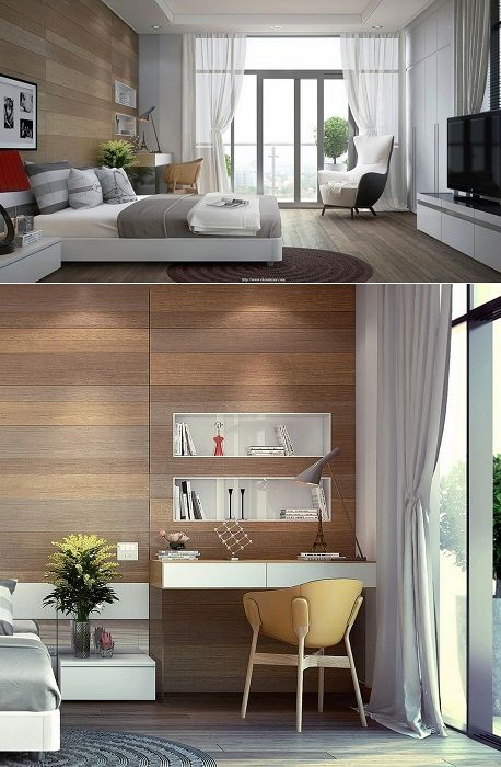 Steep example design bedrooms have been decorated using wood.