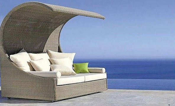 Garden furniture - wicker couch with a canopy