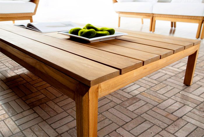 Outdoor garden furniture: a wooden coffee table