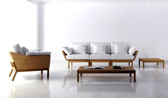 Outdoor garden furniture: white upholstery sofas and armchairs