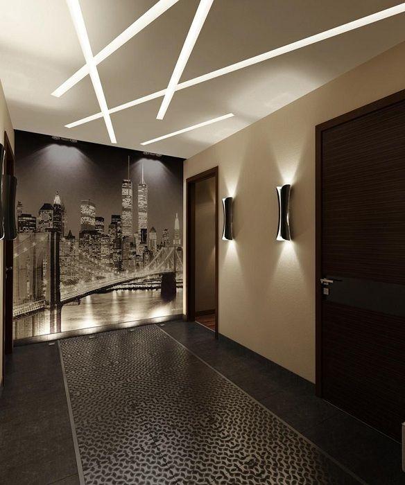 Уникален LED светлина в дизайна на стените на къщата: зашеметяващи примери