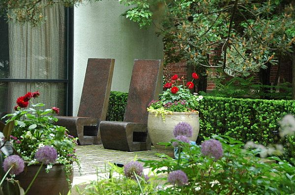 Stone chairs in the garden