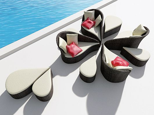 Beautiful modular sofa and chairs by the pool