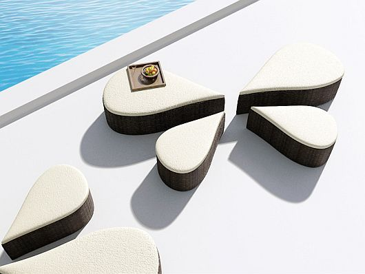 Delightful modular tables by the pool