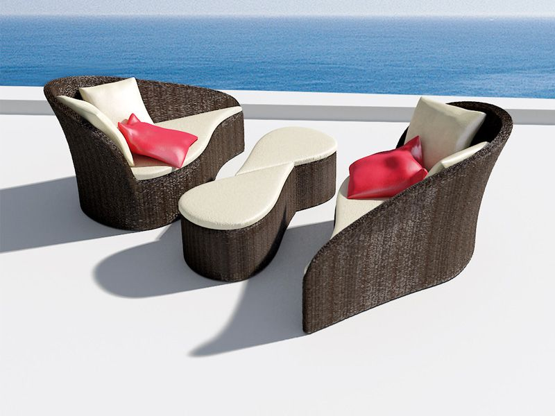 Designer sofas and tables by the pool