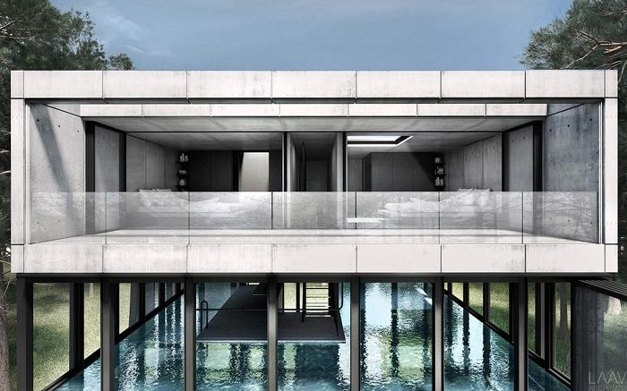 Villa Clessidra - concept villas of concrete, glass and steel.