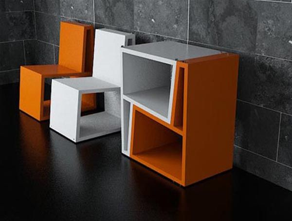 Chairs transformers forming cabinet