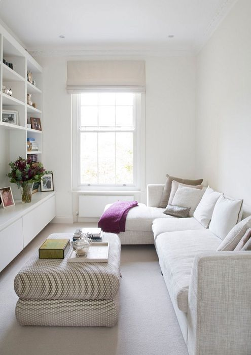 Excellent design decision to equip the interior of a small living room in white tones.