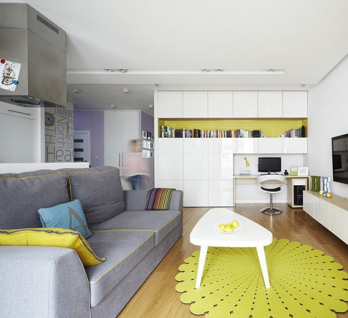An excellent interior elements created through bright yellow decor.