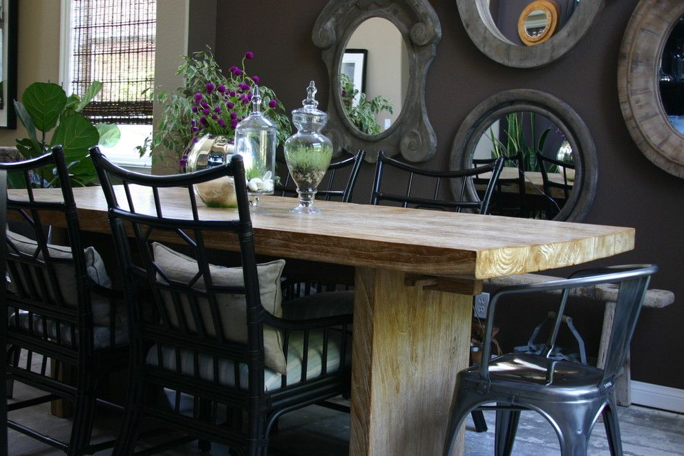 Wooden table in the dining room interior