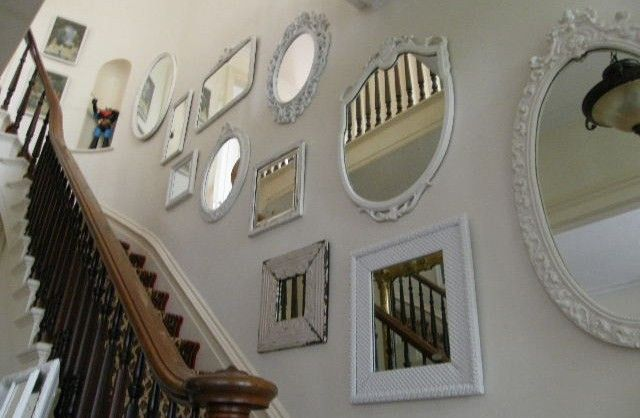 Mirrors on the walls in the interior