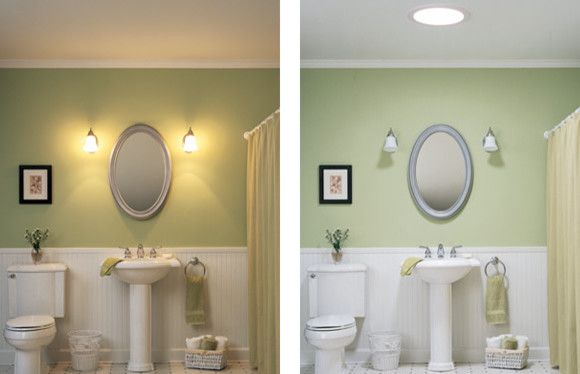 Wall lights in the interior of the bathroom