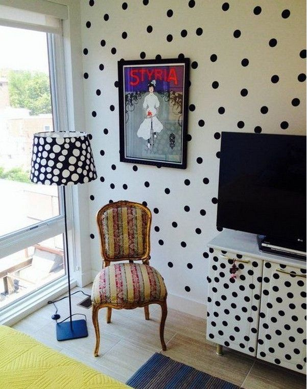 The original lampshade in black and white polka dots
