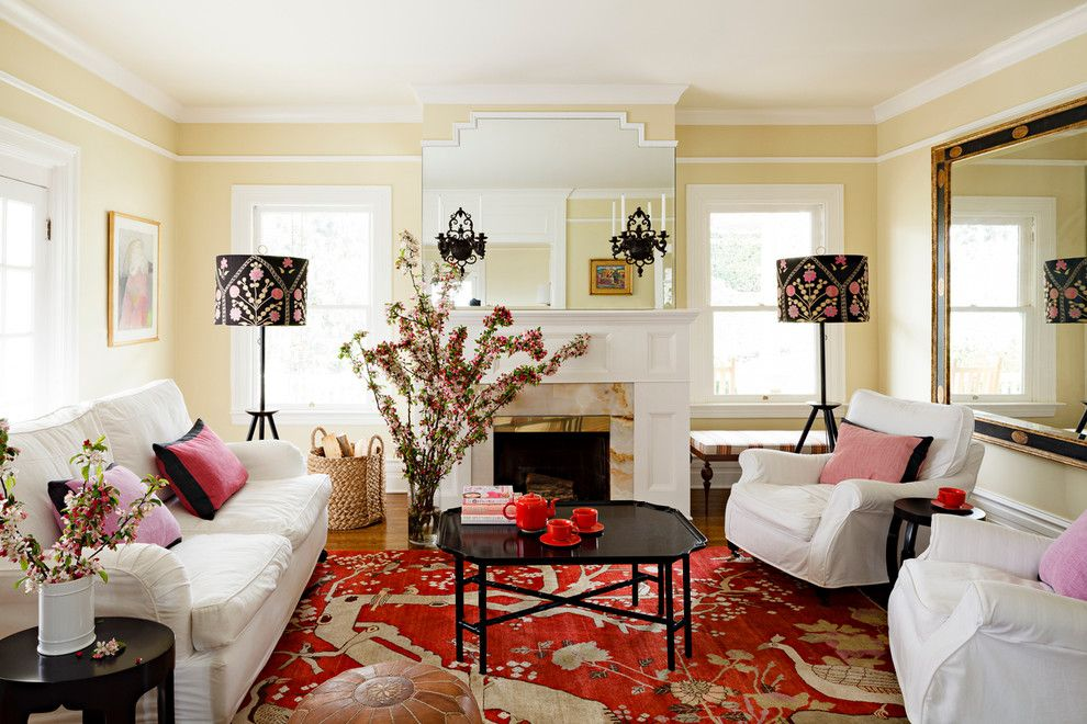 Floor lamps with a print in the living room interior