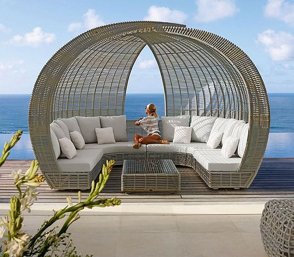 Wicker garden furniture on the terrace