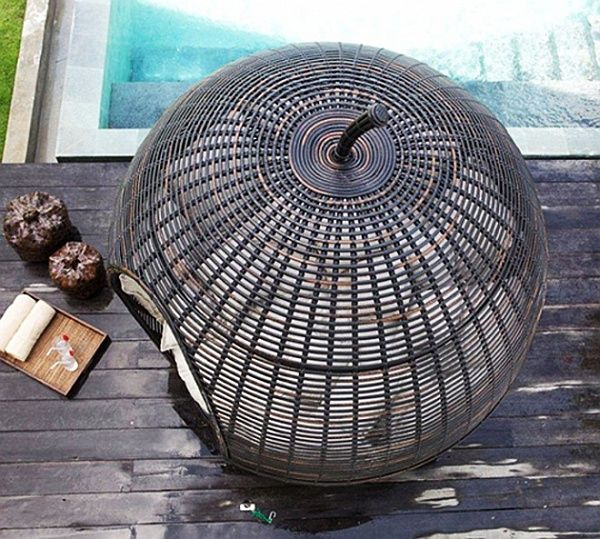 Wicker garden furniture - top view