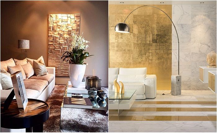 Examples of interior decoration with gold accents.