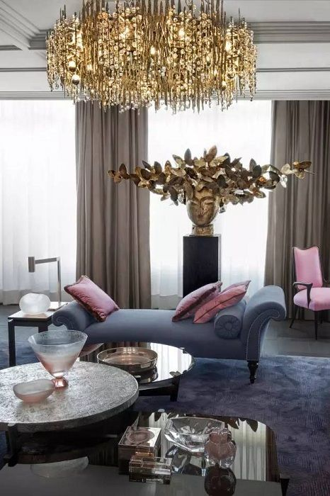 living room painted in pastel colors with the addition of golden hues, which will feature a room.