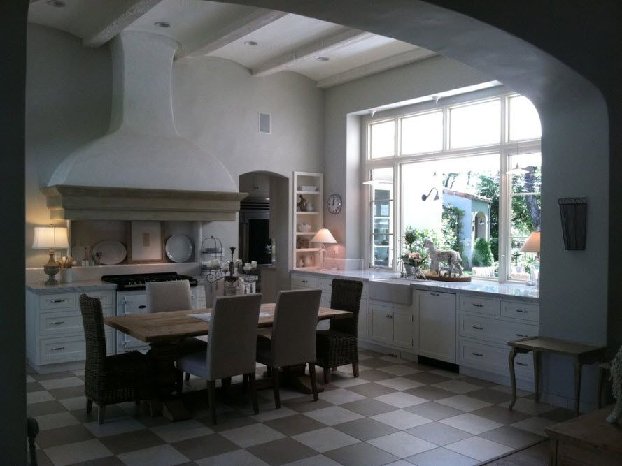 In a spacious kitchen