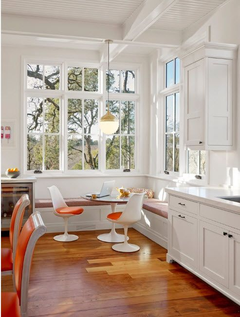In a bright kitchen with a white finish