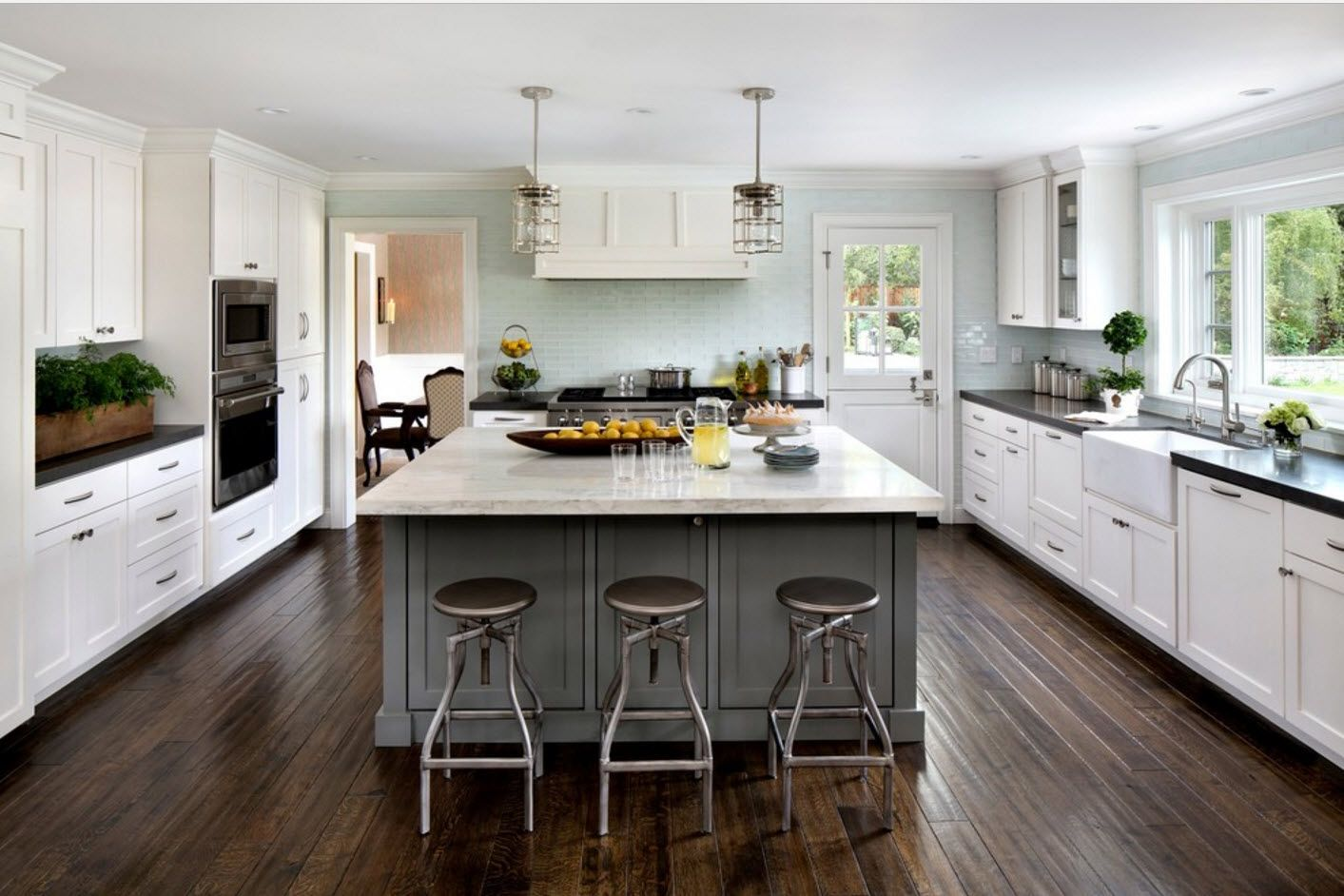 In a bright and spacious kitchen