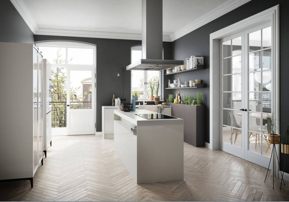 Creative design of a large kitchen