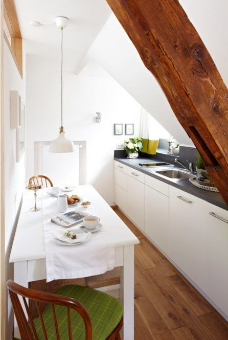 Kitchen with a complex architecture