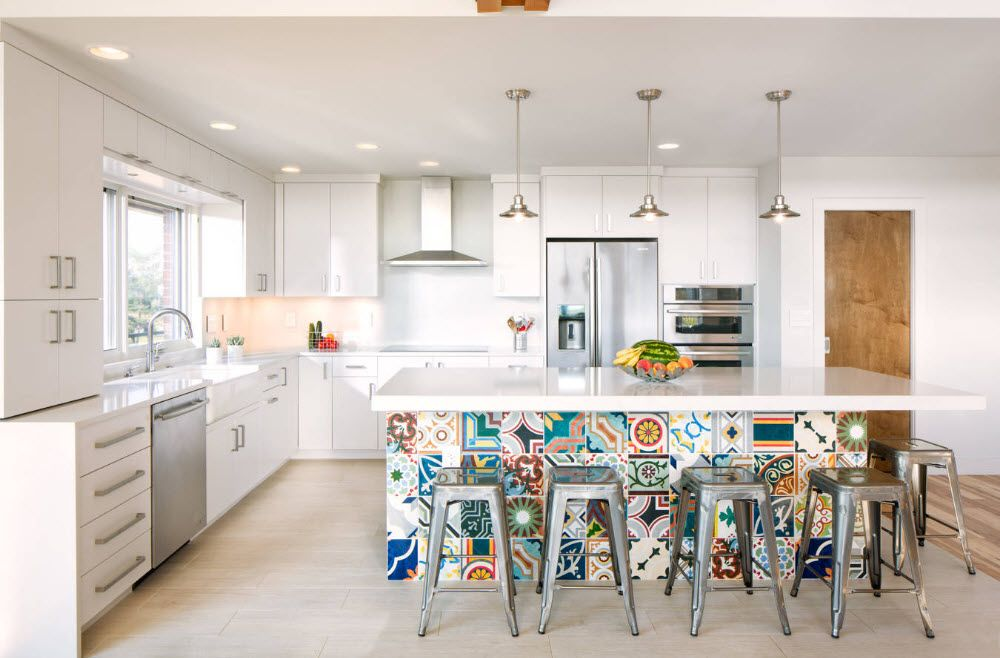 Bright design of the kitchen island