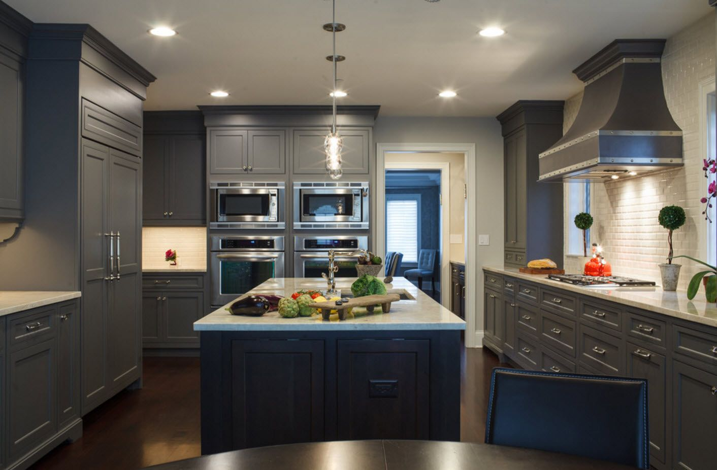 Kitchen interior in shades of gray