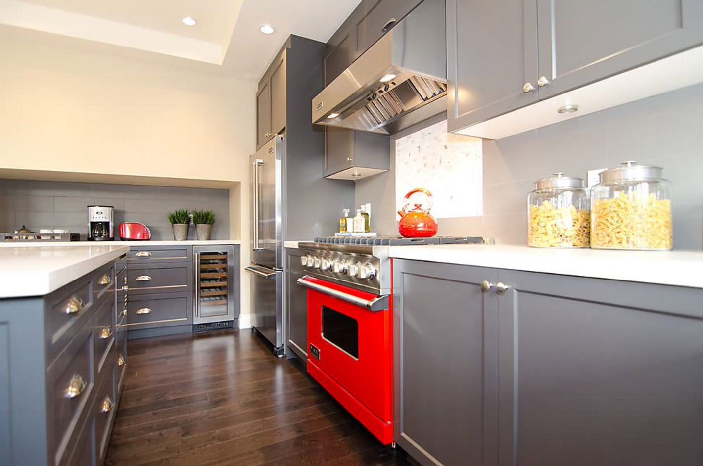 Bright household appliances in a gray kitchen