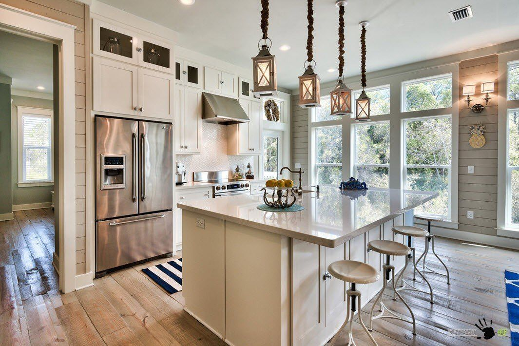 Large chandelier for a spacious kitchen