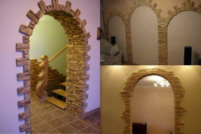 оформление арок искусственным камнем фото