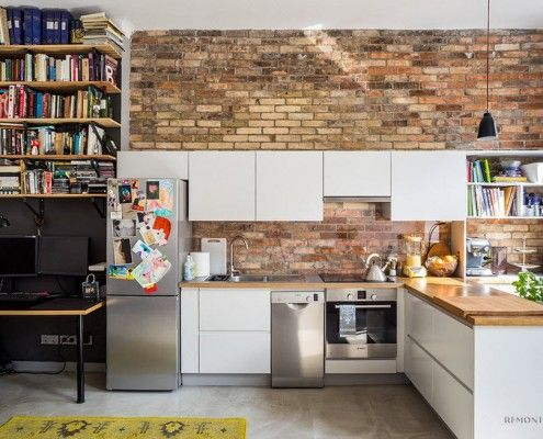 Brick in the interior of the kitchen