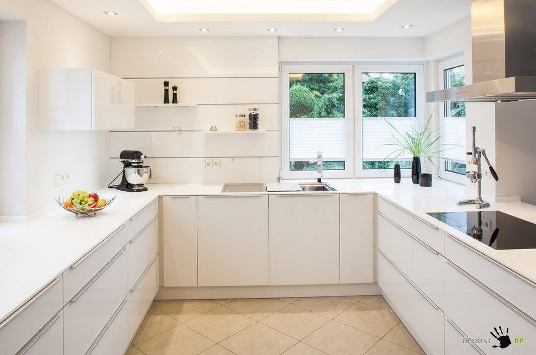 White Color Kitchen Cabinets WithU Shaped Layout