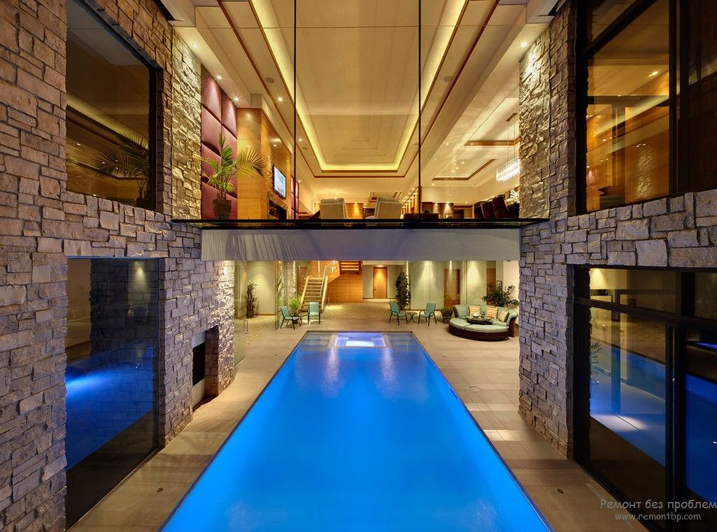 Spectacular swimming pool inside the house