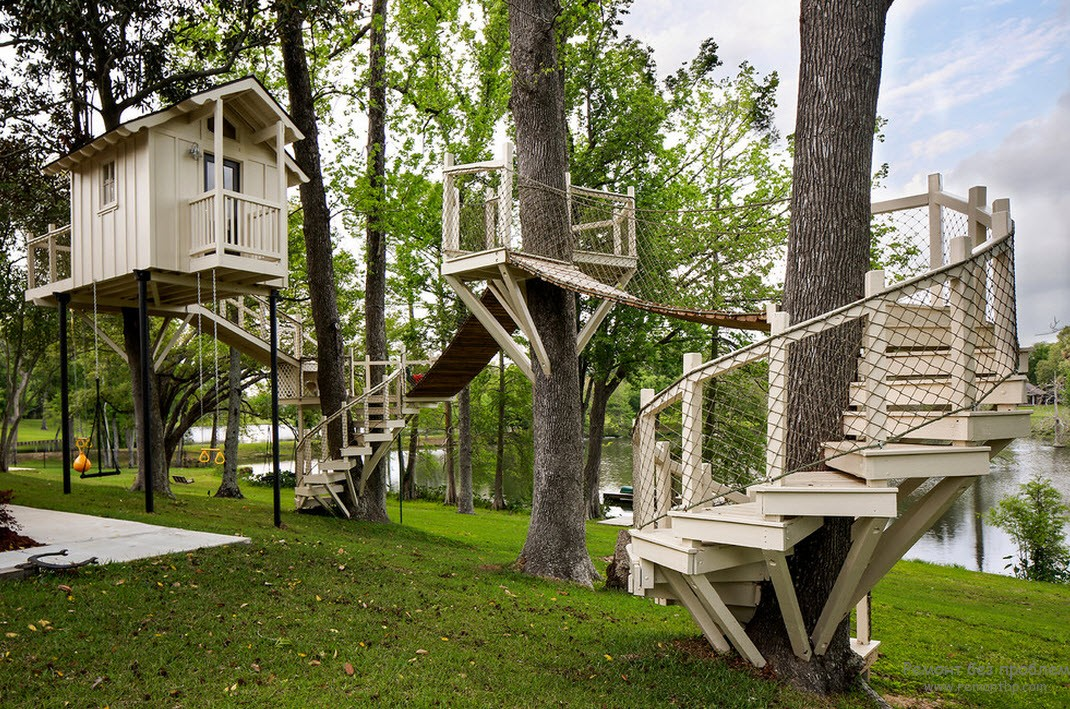 Original installation of children's structures around trees