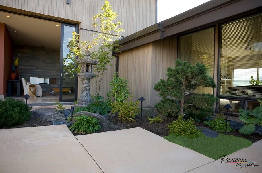 Къщи в японски стил екстериор и дизайн площ, градина и двор в снимката