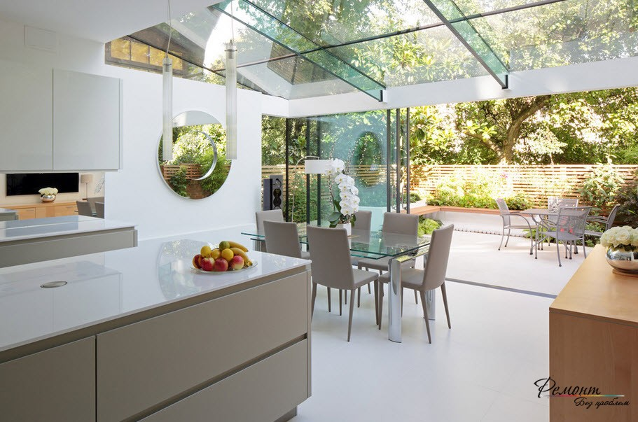 Cozy kitchen from glass