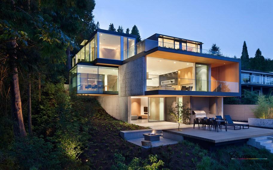 Стилният дизайн на селски къщи и вили в модерен стил в снимката