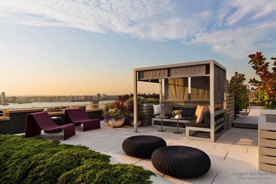 Покривна тераса: формулирането на лятна дизайн на покрива