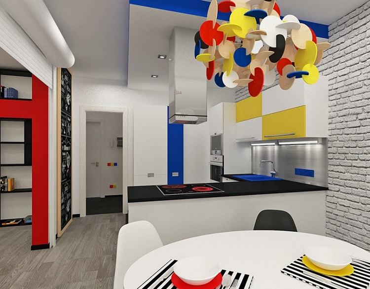 Interior design for the kitchen in the style of the Bauhaus-10