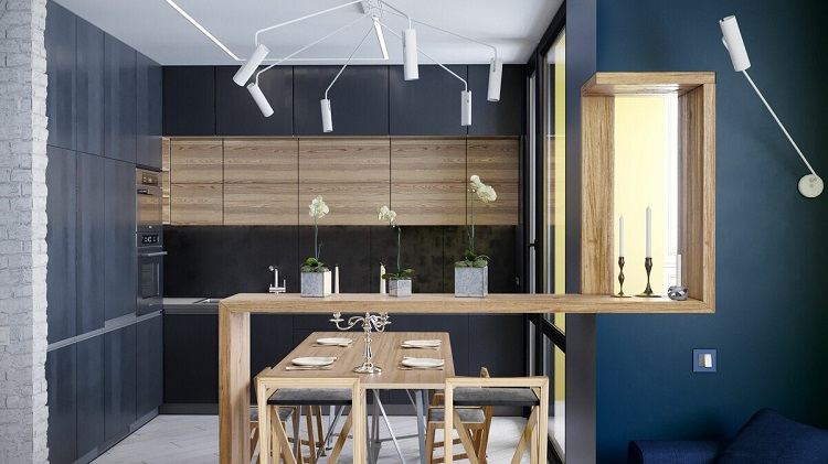 Interior design for the kitchen in the style of the Bauhaus-18